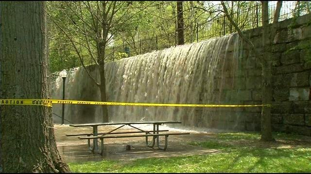 Water pours over into Tyler Park