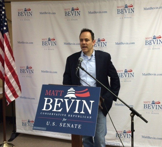 Republican U.S. Senate candidate Matt Bevin holds a news conference April 28 to refocus message on economy.