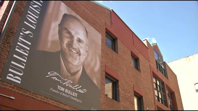 A banner of Tom Bulleit now hangs on 3rd Street in Louisville.