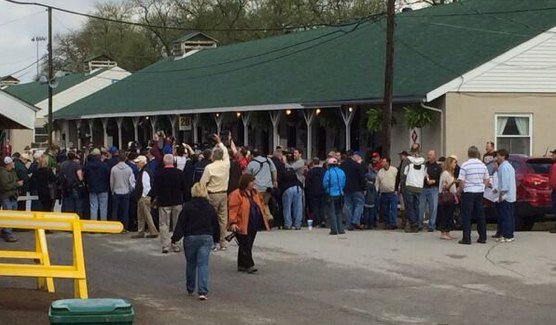 The crowd outside California Chrome's barn Tuesday morning.