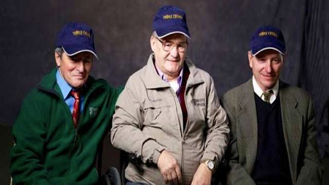 Triple Crown winning jockeys (from left) Jean Cruguet, Ron Turcotte and Steve Cauthen are featured in a marketing campaign at Belmont Park. (Photo Triple Crown Nutrition.)