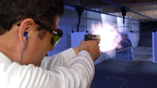 Bodyguard Greg Gitschier stays sharp with regular trips the firing range.