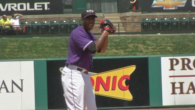 Chapman on the mound in Louisville Wednesday