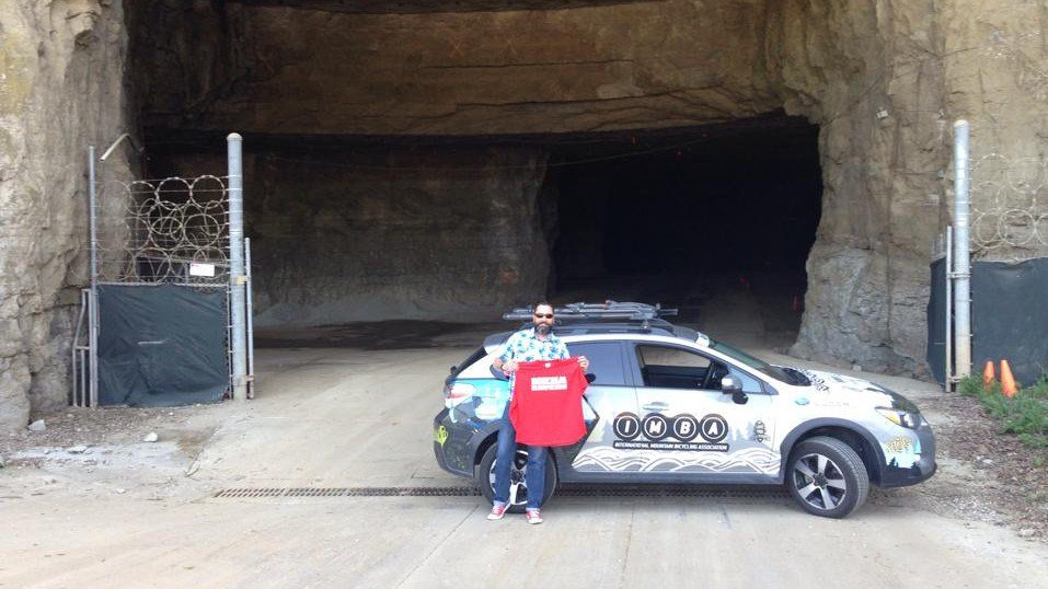 IMBA Great Lakes posted this imaged of Director Andy Williamson outside the Mega Cavern to its Facebook page
