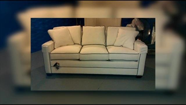 An alleged victim says she was never paid for this American Artisans sofa