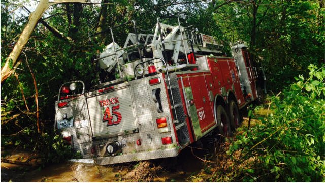 Jeffersonville fire truck #45 slipped off the side of Charlestown Pike May 10.