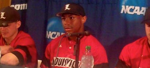 Louisville freshman Corey Ray had three hits as the Cards beat Kansas.