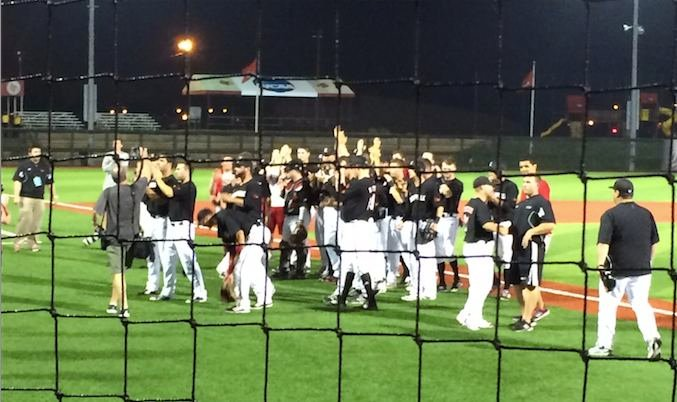The Louisville baseball team acknowleges fans who stuck out the wet conditions in their 4-1 regional championship victory over Kentucky.