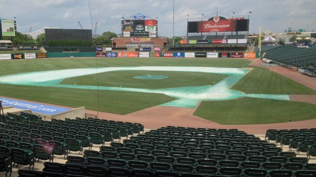 Slugger Field with cones showing where the soccer field will be