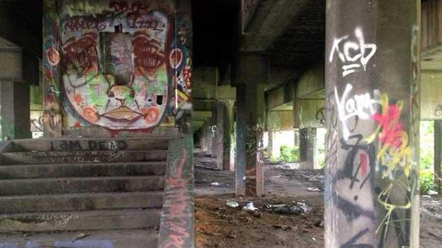 Illegal graffiti under train bridge in Phoenix Hill.