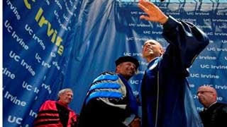 (AP Photo/Manuel Balce Ceneta). President Barack Obama, waves to the crowd after delivering his commencement address to the graduates of University of California, Irvine, at the Angel Stadium of Anaheim in Anaheim, Calif., Saturday, June 14, 2014.