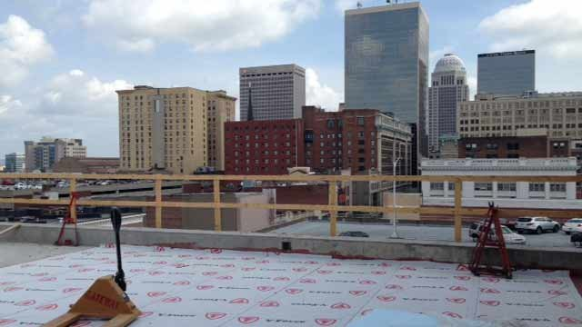 View from what will be the new Hilton Garden Inn roof garden when the hotel opens later this year.