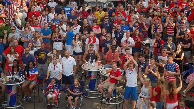 USA Soccer fans pack into Fourth Street Live to watch the USA vs. Portugal game on the big screen.