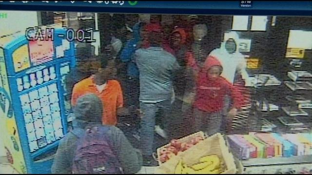 Teens on security footage from Bader's Food Mart on March 22, 2014.