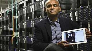 (AP Photo/Bebeto Matthews, File). FILE - This Dec. 20, 2012 file photo shows Chet Kanojia, founder and CEO of Aereo, Inc., holding a tablet displaying his company's technology, in New York.