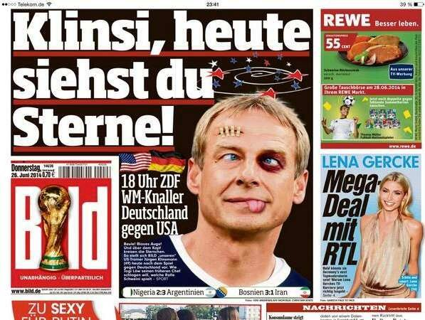 """Klinsi, today you see stars!"" The German tabloid Bild told the former German coach and national team star in advance of his U.S. team's game with Germany."