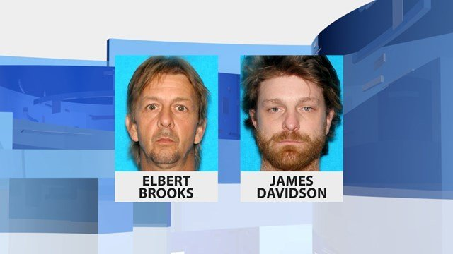 James Davidson, left, is still wanted for questioning by police in connection with a triple shooting near Paoli, Ind. that left two men dead and another seriously wounded.