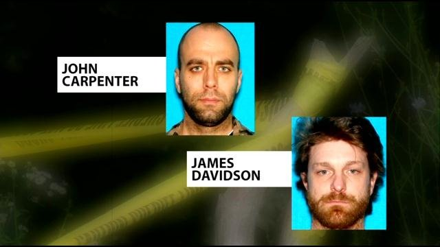 John Carpenter and James Davidson are suspects in a triple shooting that left two men dead and another man seriously wounded.