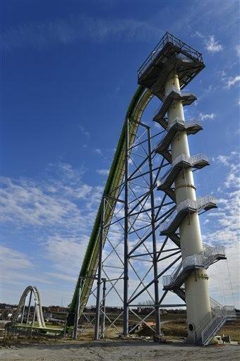 (AP Photo/The Kansas City Star, Jill Toyoshiba). A Nov. 2013 photo shows Schlitterbahn's new Verrückt speed slide/water coaster in Kansas City, Kan.