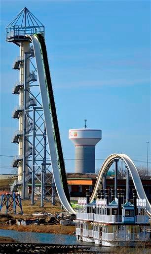 (AP Photo/The Kansas City Star, Jill Toyoshiba). A November 2013 photo shows Schlitterbahn's new Verrückt speed slide/water coaster in Kansas City, Kan.