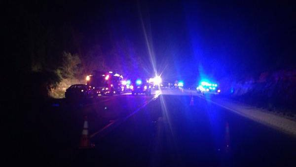 Scene of fatal crash on I-71 south of Crestwood, in Oldham County, Ky., Thursday night. WDRB News/Emily Mieure