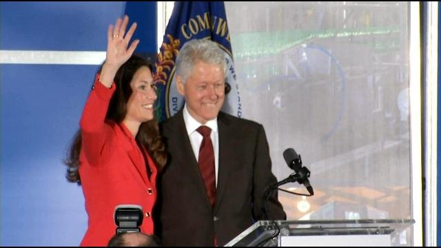 Clinton appeared at a campaign event with Grimes in Louisville in February.