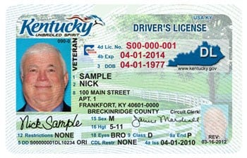A sample Kentucky driver's license. Courtesy: Kentucky Transportation Cabinet