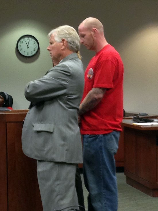 Dennis Saling, right, appears in court.