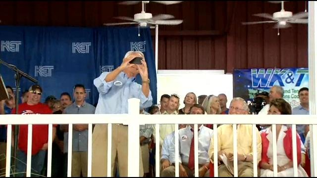 Governor Beshear takes a selfie with Senator McConnell.