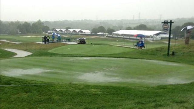 View of the soaked 13th tee box.