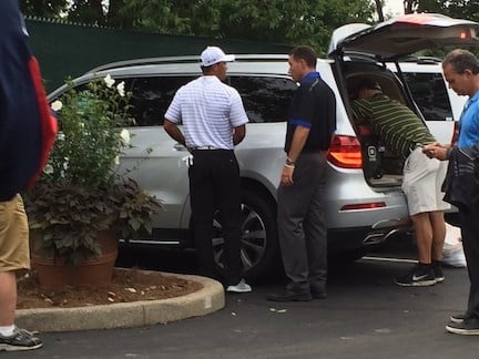 Tiger Woods prepares to leave Valhalla after failing to make the cut in the PGA Championship. (WDRB photo)