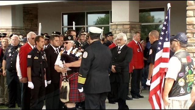 Mourners gather to remember Jonathan French at First Christian church in Elizabethtown, Ky.