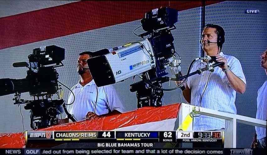 UK coach John Calipari works the ESPN cameras during his team's Game 2 win in the Bahamas. (Screen shot from ESPNU)