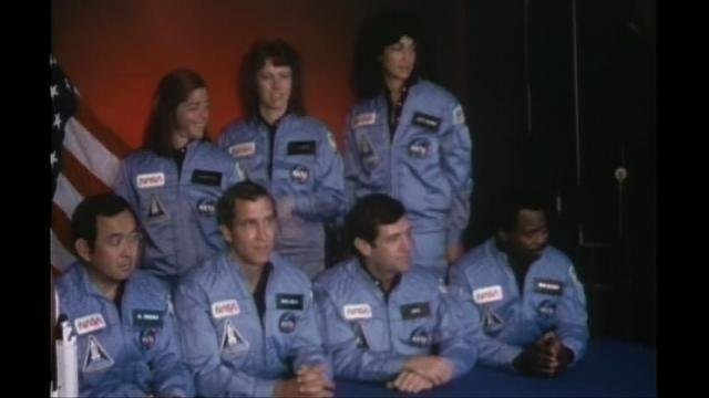 Backup Teacher in Space Barbara Morgan (top left) poses with the STS-51L Challenger crew. (Source: NASA archives, via SpaceCraft Films.)