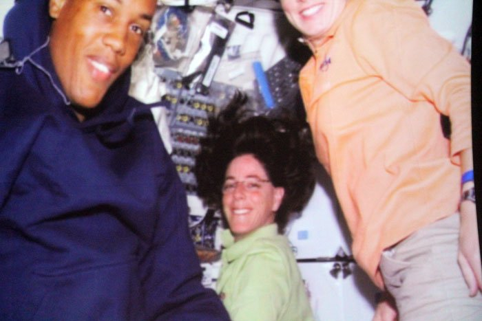 Barbara Morgan aboard the space shuttle Endeavour during STS-118.