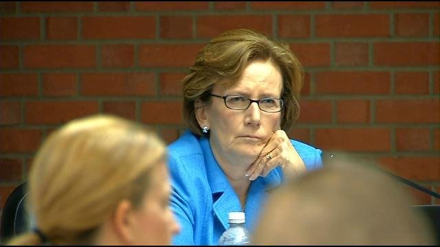 WDRB file photo. JCPS Superintendent Donna Hargens listens to School of Innovation proposals at a JCPS board meeting.