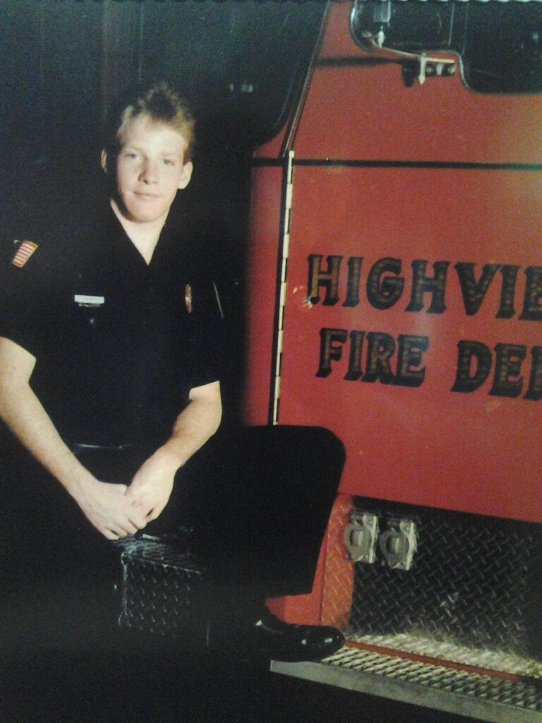 Craig Drury with a Highview Fire truck.