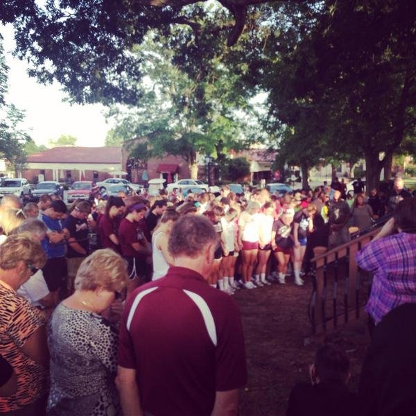 The prayer vigil began at 7 p.m. at Campbellsville University where students, faculty and staff gathered.