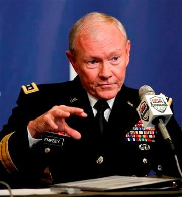 (AP Photo/Kathy Willens, File). FILE - This Aug. 20, 2014 file photo shows Joint Chiefs Chairman Gen. Martin Dempsey.