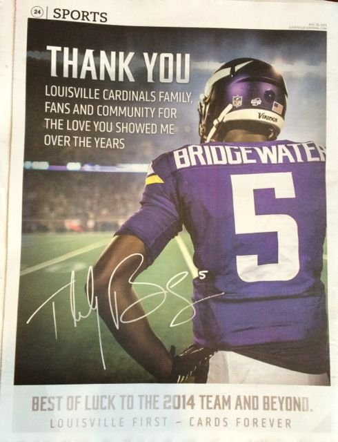 Full page view of Teddy Bridgewater's ad in The Louisville Cardinal newspaper. Click on image to enlarge. Eric Crawford photo.