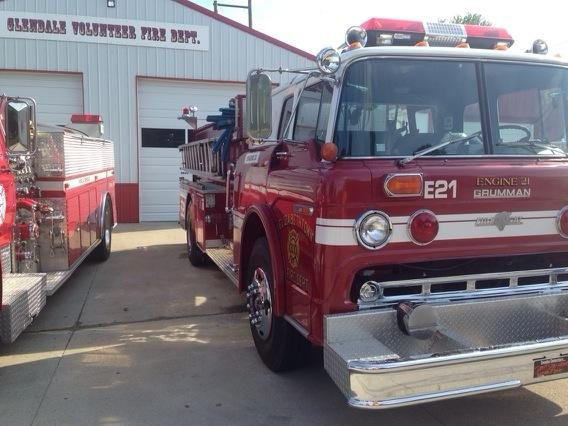 A photo of the fire truck loaned from Elizabethtown Fire.