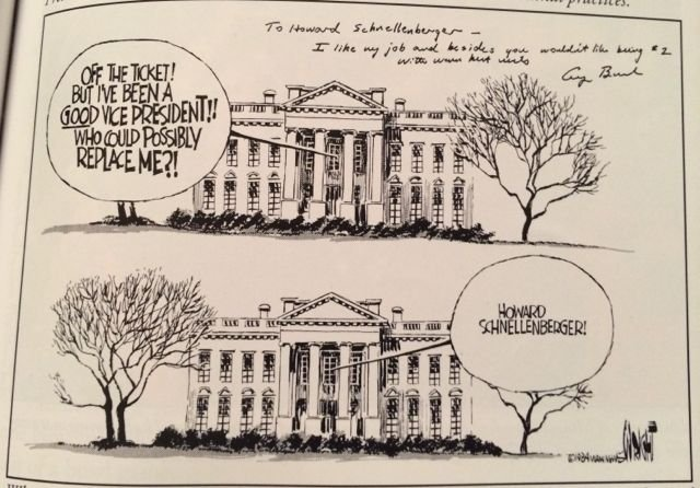 In an editorial cartoon, Howard Schnellenberger is proposed as a replacement for George Bush on the Republican Ticket. Bush, who later became president, sent the coach a signed copy. (Click to enlarge)