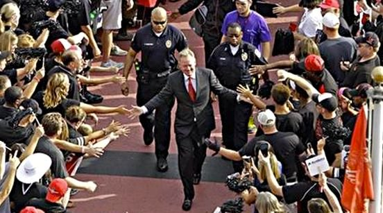 Bobby Petrino entered Papa John's Cardinal Stadium to a huge ovation.