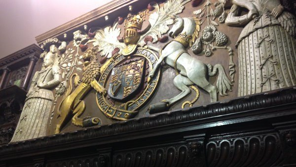 A wood carving in the English Renaissance Room.