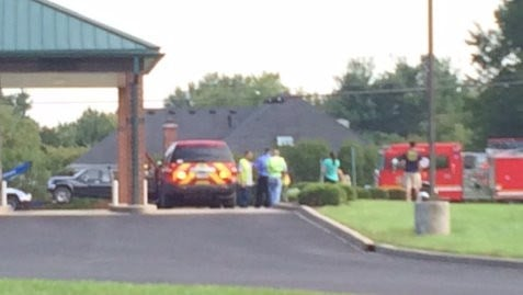 Emergency vehicles gather at Stock Yards Bank on U.S. 42 to respond to situation. Coutesy: Julia Pritchett