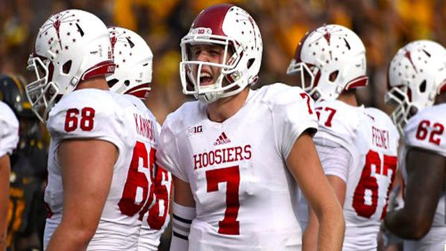 Quarterback Nate Sudfeld (7) led Indiana past Missouri least Saturday.