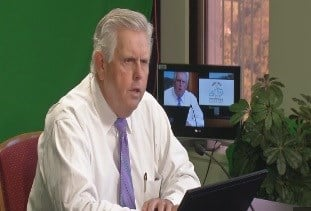 Kentucky Education Commissioner Terry Holliday participates in a superintendent webcast on Sept. 24, 2014