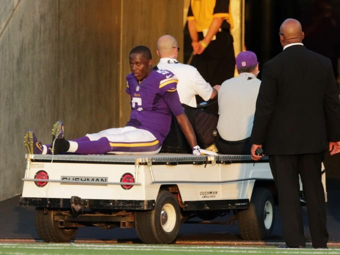 Teddy Bridgewater on his way to be X-rayed for what wound up being diagnosed as a sprained ankle. AP photo.