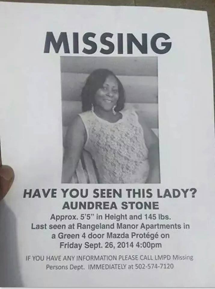 This poster has been circulating on social media regarding Aundrea Stone.
