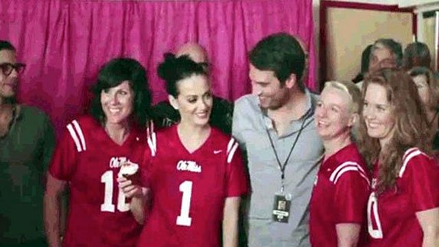 Katy Perry (1) has accepted the biggest honor in sports -- picking games on ESPN's College GameDay.